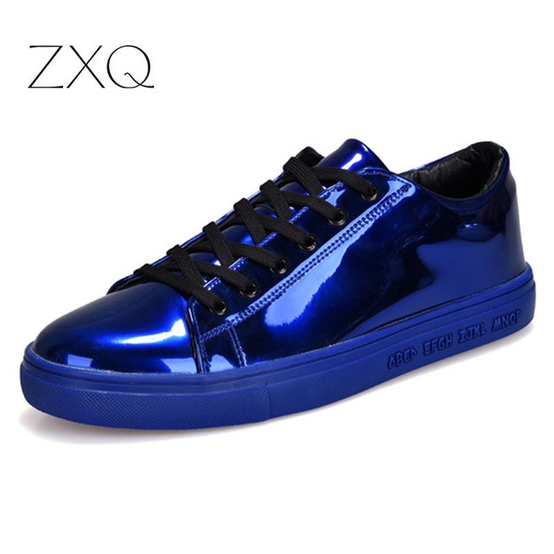 Men's Skate Shoes 2019 New Men Bright Patent Leather Casual Sneakers For Boys Students Fashion Men Footwear