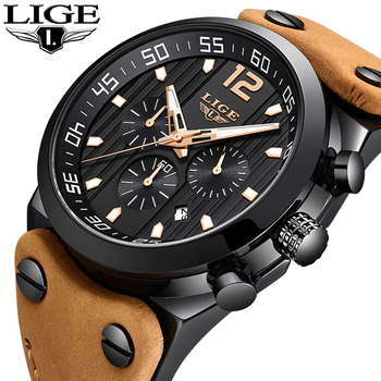 Relogio Masculino 2019 LIGE Fashion Sports Mens Watches Top Brand Luxury Waterproof Leather Strap Quartz Wrist Watches Men Clock baogela men s leisure quartz watches fashion clock leather strap analogue wristwatch relogios masculino 3atm waterproof bl1808
