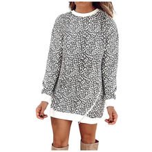 Leopard Patchwork dress women Casual Loose Long Sleeve Sweatshirt Pullover Dresses 2019 Autumn Winter Ladies Shirt Sundress(China)
