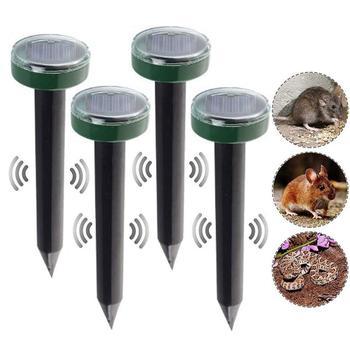 4Pcs Mole Rat Repellent Solar Ultrasonic Repeller Spike Garden Pest Deterrent Outdoor Ultrasonic Pest Repeller Mouse Trap Device