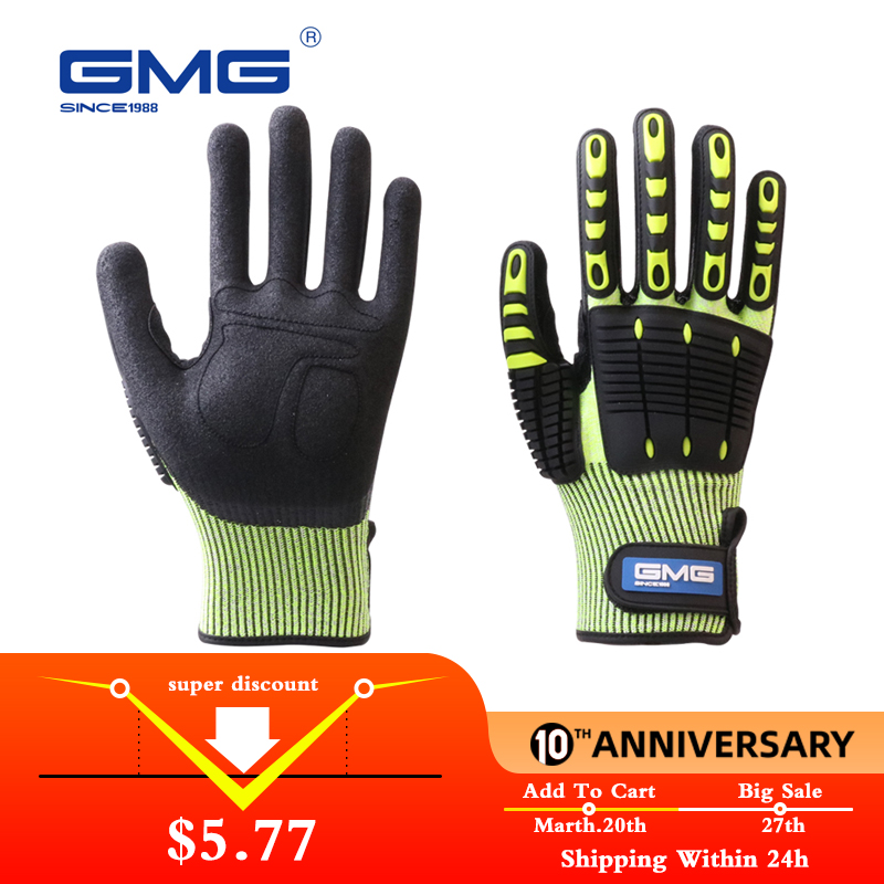 Anti Impact Gloves Anti Vibration Oil-proof GMG Yellow HPPE GMG  TPR Safety Work Gloves Cut Resistant Gloves