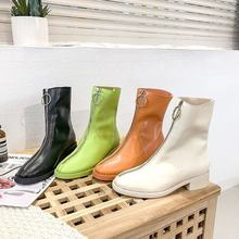 Martin Boots Female British Wind 2019 Spring and Autumn New Wild Candy Color Fashion Front Zipper Flat Women's Boots Sabba(China)