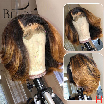 Beeos 150% 13*6 Honey Blonde Color Lace Front Human Hair Wigs Short Wavy Bob Hair Brazilian Remy Hair Pre Plucked Bleached Knots