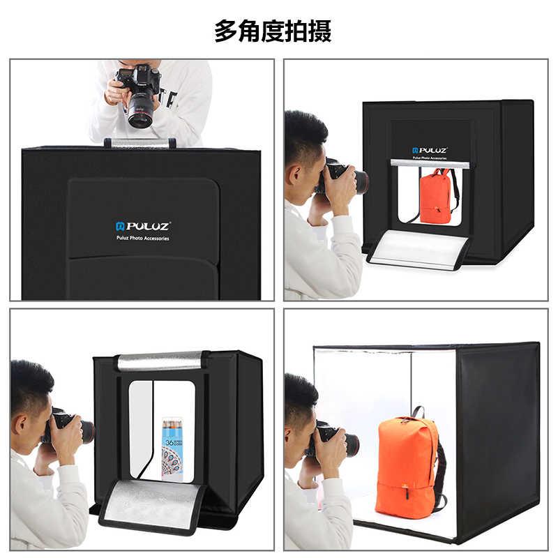 SHENXIAOMING Photo Studio Light Box Portable 60 x 60 x 60 cm Light Tent LED 5500K Mini 60W Photography Studio Tent Kit with 3 Removable Backdrop Black Orange White