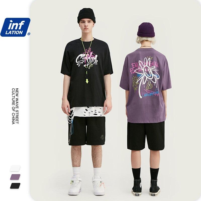 INFLATION Men Funny Tshirt Men Fashion Casual Cotton Tshirt Short Sleeve Men T-Shirts Hip Hop Streetwear Couple Tee 1015S20