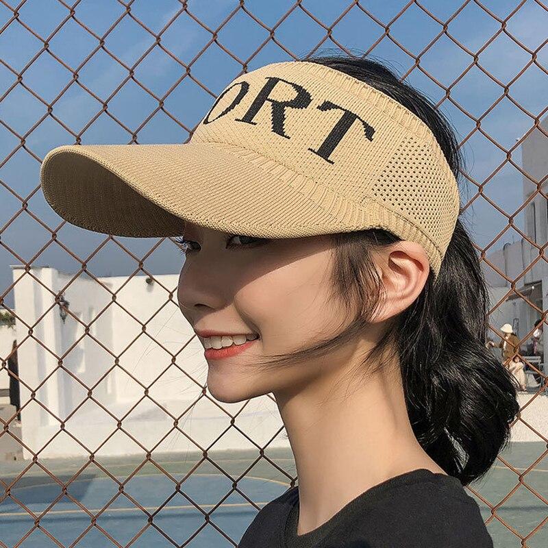 Spring/Summer Hat Girl Outdoor Baseball Cap Sports Empty Top Hat Letter Breathable Eaves Knitted Sun Visor Hats for Women