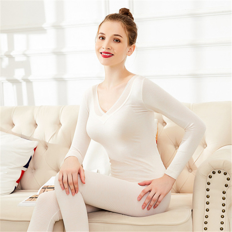 Fashion Sexy Deep V-Neck Lace Striped Women's Thermal Underwear Set Thin Basic Winter Warm Pajamas Slim Body Female Second Skin