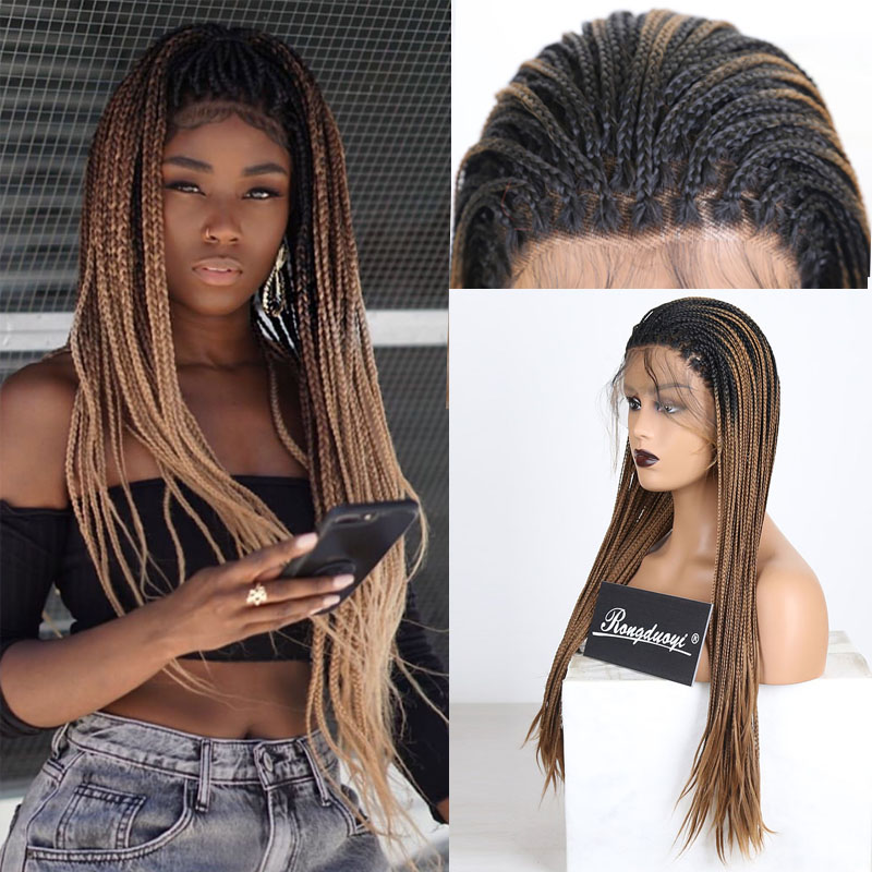 RONGDUOYI Ombre Fiber Hair Braided Box Braids Wigs For Women Long Synthetic Lace Front Wig Two Tone Heat Resistant Cosplay Wig