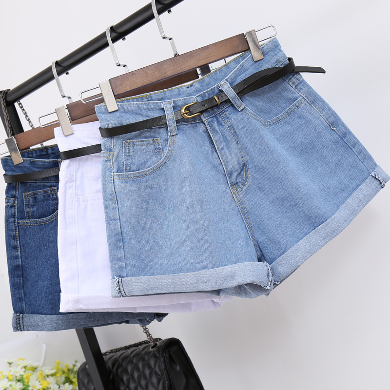 INS Summer High-waisted Denim Shorts Women's Loose-Fit Crimping Size Large Size Slimming A- Line [Belt Included]