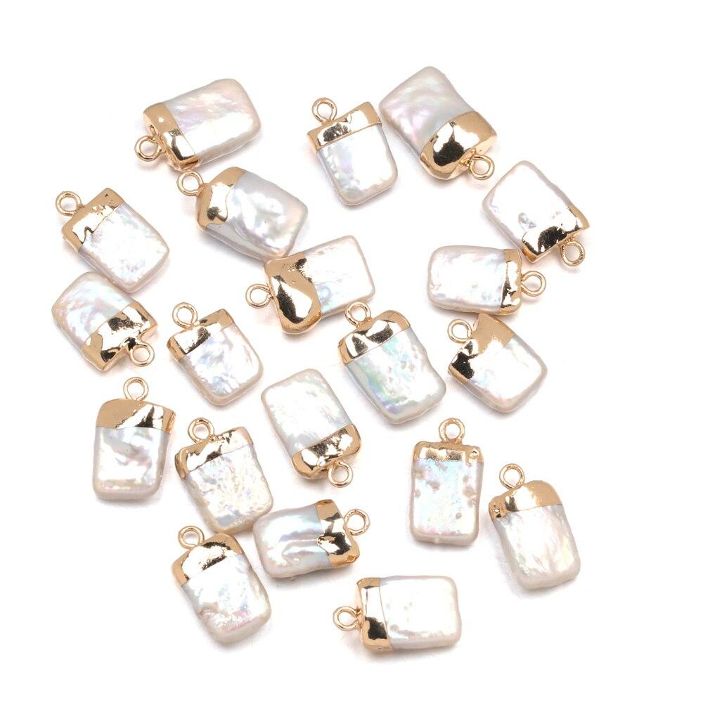 Подвески из натурального пресноводного жемчуга квадратной формы, подвески, аксессуары для ожерелий размером 10x18 мм