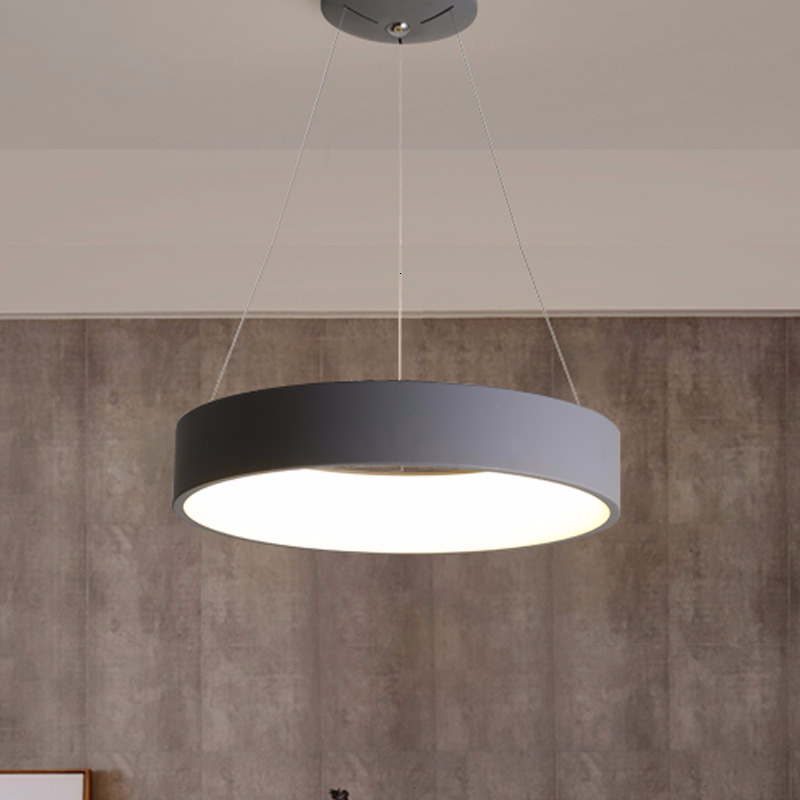 Gray Circle LED Pendant Lights Modern For Dining Room Restaurant Decoration Hanging Lamp Living Bedroom Fixtures Luminaria