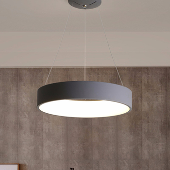 Gray Circle LED Pendant Lights Modern For Dining Room Restaurant Decoration Hanging Lamp Living Bedroom Fixtures Luminaria creative modern round led pendant lights adjustable height hanging lamp dining room restaurant living room pendant lamp fixtures