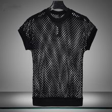 Fashion Summer Grid Transparent Punk Style Mens T-Shirts Short Sleeve Hollow Out O-Neck Slim Fit Solid Camiseta Masculina Tops(China)