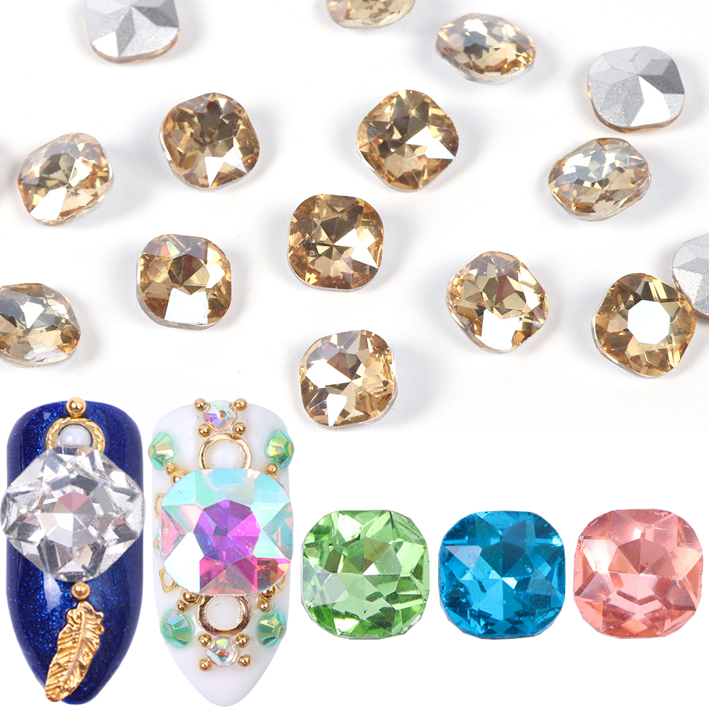 10pcs 3D Nail Crystals Rhinestone AB Charms Square Strass Stone Champagne Nail Gems Decoration Manicure Accessories Tools JI823