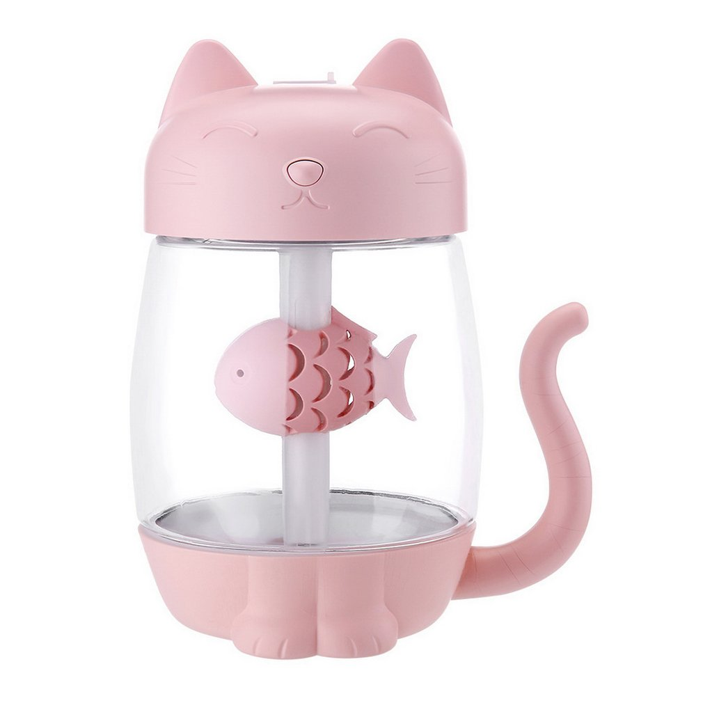 USB Charging Cute Cat Air Humidifier Ultrasonic Car Aromatherapy LED Light For Car Office Home