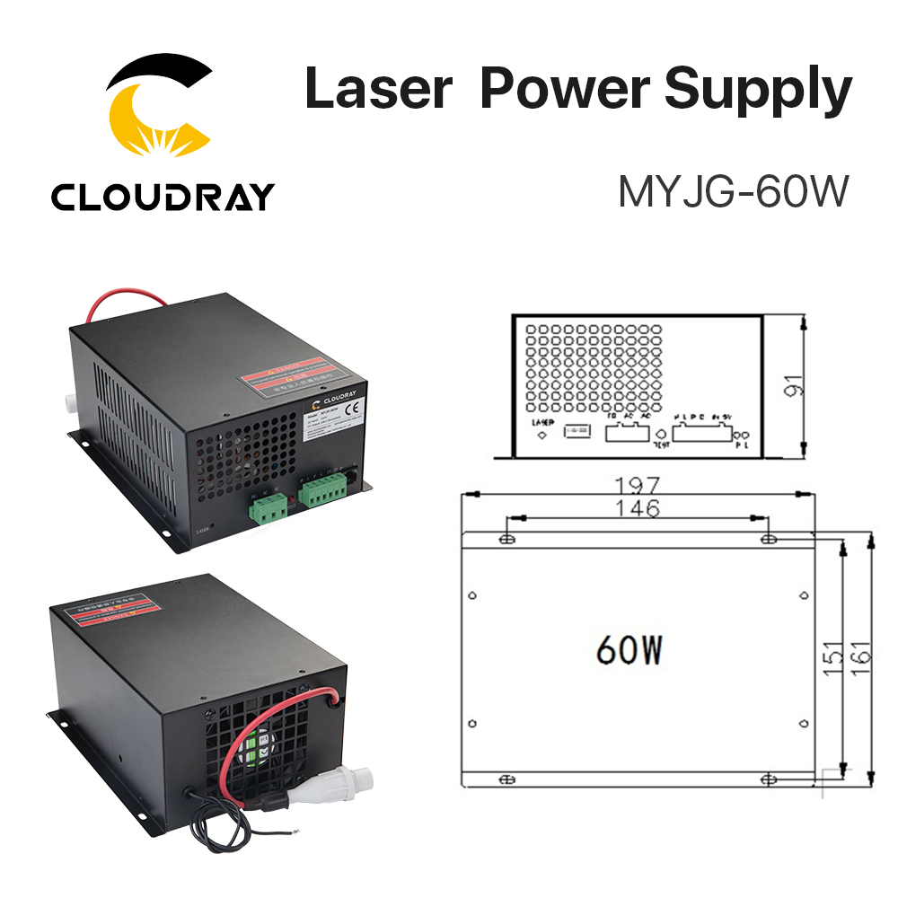 Cloudy 60W CO2 laser-toiteallikas CO2 lasergraveerimisega - Puidutöötlemismasinate varuosad - Foto 2