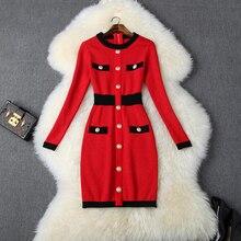 มินิเซ็กซี่ชุดดินสอ 2019 ใหม่ High Street Vintage เสื้อกันหนาวถักฤดูใบไม้ร่วงผู้หญิงแขนยาวผู้หญิงฤดูหนาวชุด