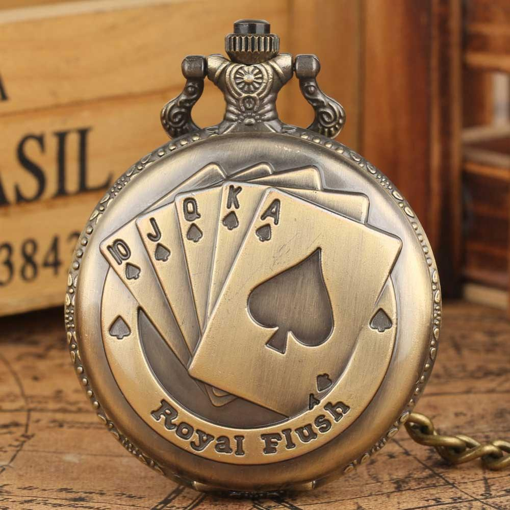Vintage Retro Bronze Royal Flush Quartz Pendant Fob Pocket Watch With Necklace Chain Gift Hot Sale Clock For Men Women
