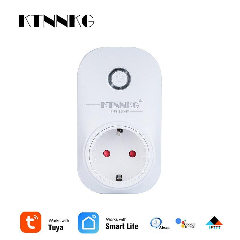 KTNNKG Smart Life WiFi Power Socket Wireless Remote Control Switch TUYA APP For Google Home Alexa EU US UK Plug Timer Outlet