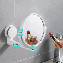 Double Side Bathroom Wall Mirror Cosmetics Makeup 360 Swivel Decor Suction Folding Mirrors Hot