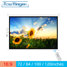 Touyinger 16:9 72/84/100/120 дюймов Электрический Экран для Проектор Шторы моторизованный клапан для всех светодиодный ЖК-дисплей DLP лазерный проектор Экран