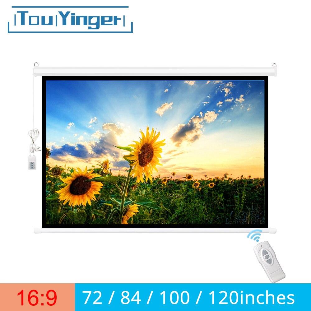 Touyinger 169 72/84/100/120 inç için elektrikli ekran projektör perdeleri motorlu tüm LED LCD DLP lazer projeksiyon perdesi