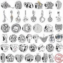 100% 925 prata esterlina pena árvore da família flocos de neve menino balançar contas caber pandora encantos originais pulseiras diy jóias femininas