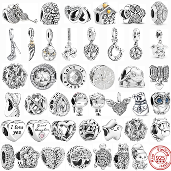 100% 925 Sterling Silver Feather Family Tree Snowflakes Boy Dangle Beads Fit Original Pandora Charms Bracelets DIY Women Jewelry 2019 autumn new 925 sterling silver beads tree of love dangle charms fit original pandora bracelets diy jewelry for women