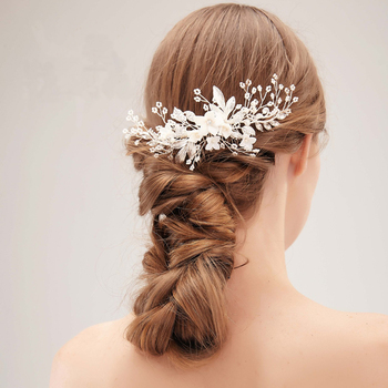 Kwiat grzebień do włosów dla panny młodej ślubne akcesoria do włosów Rhinestone perła kwiat dla panny młodej grzebień do włosów głowa kobiety ozdobna biżuteria panna młoda tiary tanie i dobre opinie FORSEVEN CN (pochodzenie) Ze stopu cynku moda Metal GRZEBIENIE DO WŁOSÓW TRENDY FS317 PLANT Flower Bride Hair Comb Pearl Alloy