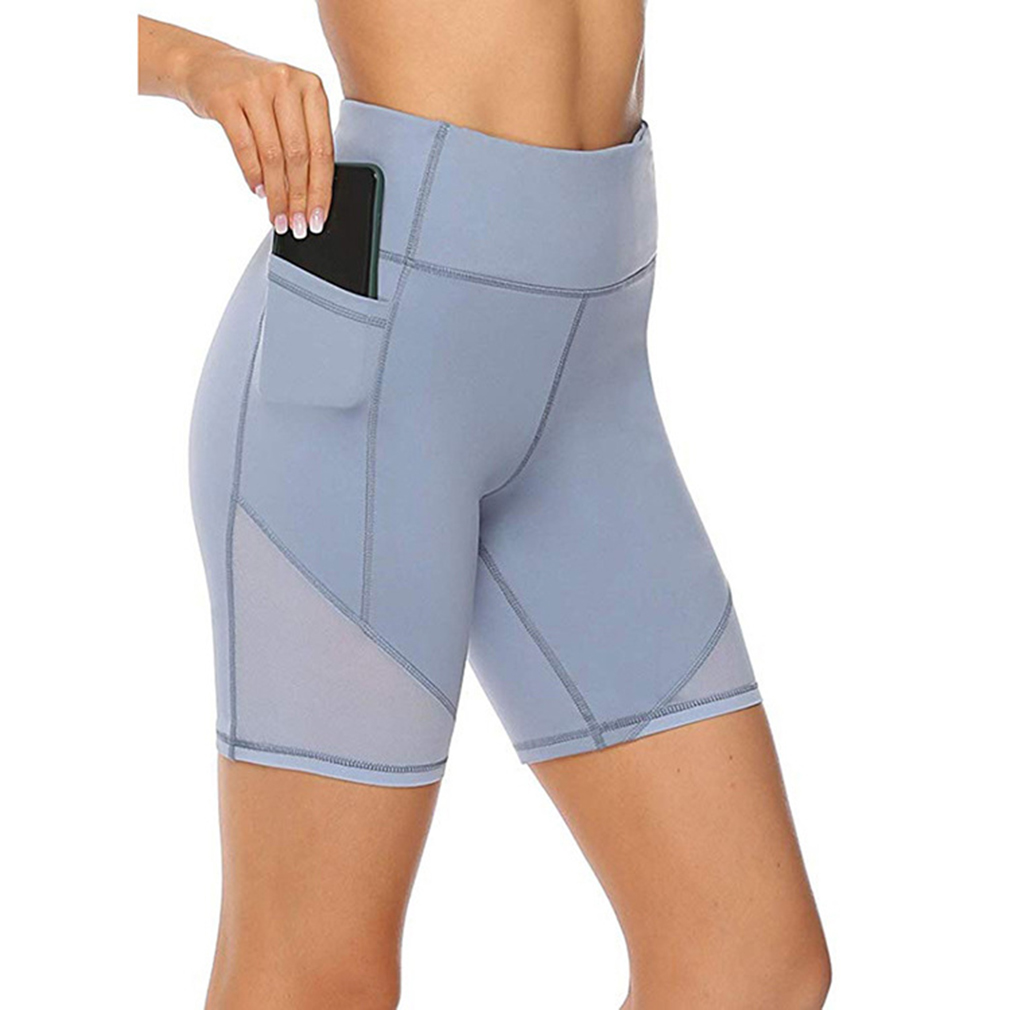Sports Women Shorts Breathable Workout Fitness Shorts For Women Summer Solid Color High Waist Slim Shorts With Pockets