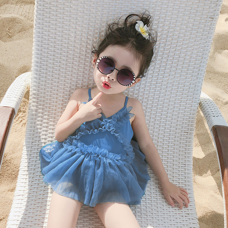Summer Swimsuit For Little Girls Beach By The Sea Swim Wear Baby Girls Bikini Ruffle Bathing Suit One Piece Suspenders Swimwear