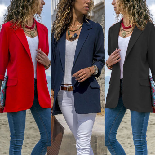 New Women's Casual Slim Blazer Work Wear Comfortable Jacket Coat Ladies Fashion Party Fitted Top Business Coat Solid Color