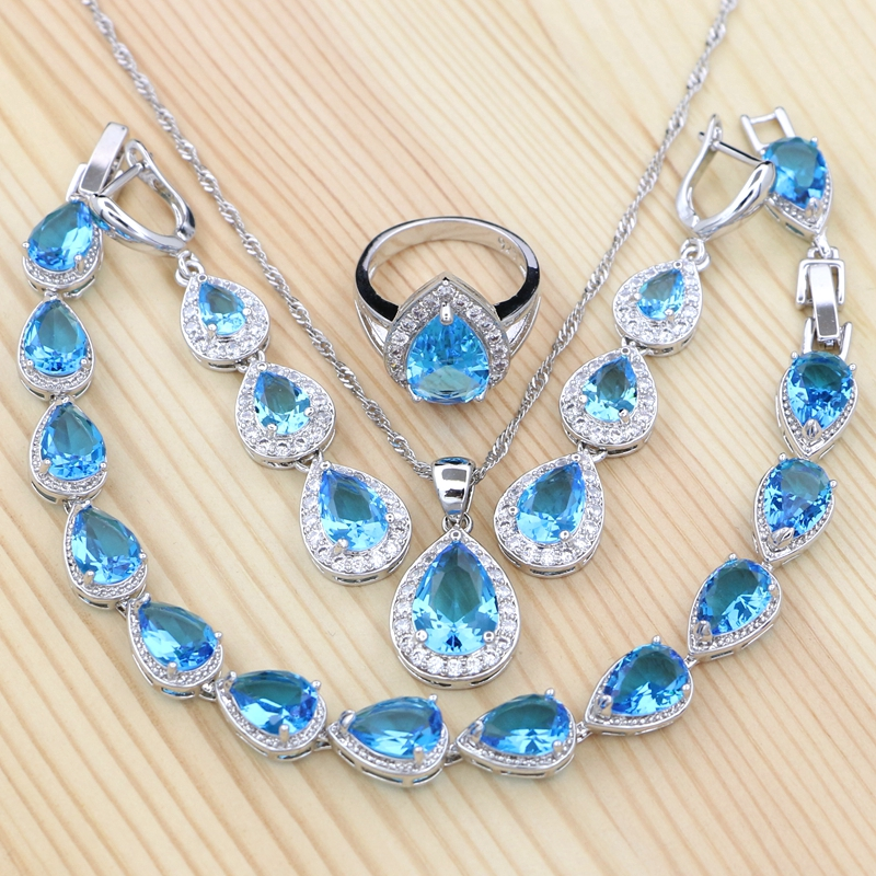 Jewelry-Sets Bracelet/ring 925-Silver Cubic-Zirconia Women for Sky-Blue White