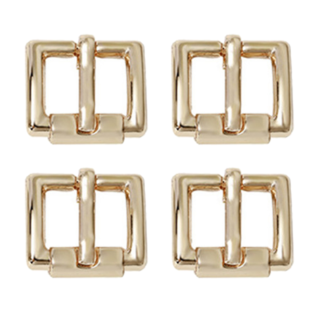 4 pcs Center Bar Pin Buckles Rectangular Belt Buckle Bag Buckles DIY Gold/Silver