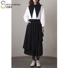 Blusa informal de algodón con manga larga para primavera 2021, camisa con botones y capa de retales para mujer, con cuello vuelto
