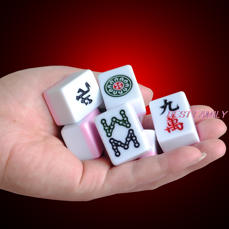Hot Portable Mini  Chinese Mahjong Set 22*15mm Travel Mah-Jong Bag Map Or Table Board Game Indoor Entertainment Table Game P05