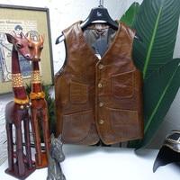 Europe Italy Japan style highend 2020 new fashion men's vest coat genuine cowhide leather Male jacket sleeveless brown xxxxl 4xl