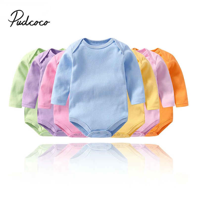2020 Newborn Infant Cute Cotton Long Sleeve <font><b>Unisex</b></font> Bbay Boy Girls Bodysuit <font><b>Baby</b></font> Clothing Solid <font><b>Body</b></font> Tops Toddler Thick Clothes image