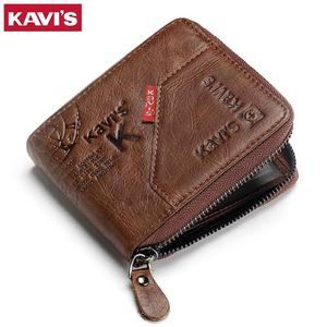 Image 2 - KAVIS 100% Genuine Leather Wallet Men Coin Purse Male Cuzdan Small Walet Portomonee Rfid Mini PORTFOLIO Vallet Perse Card Holder