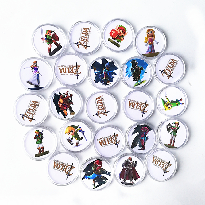 New 24Pcs Storage Box <font><b>Zelda</b></font> Breath for the Wild Game NFC <font><b>Card</b></font> Of <font><b>Amiibo</b></font> Collection Coin Ntag215 New Young Link Link's Awakenin image