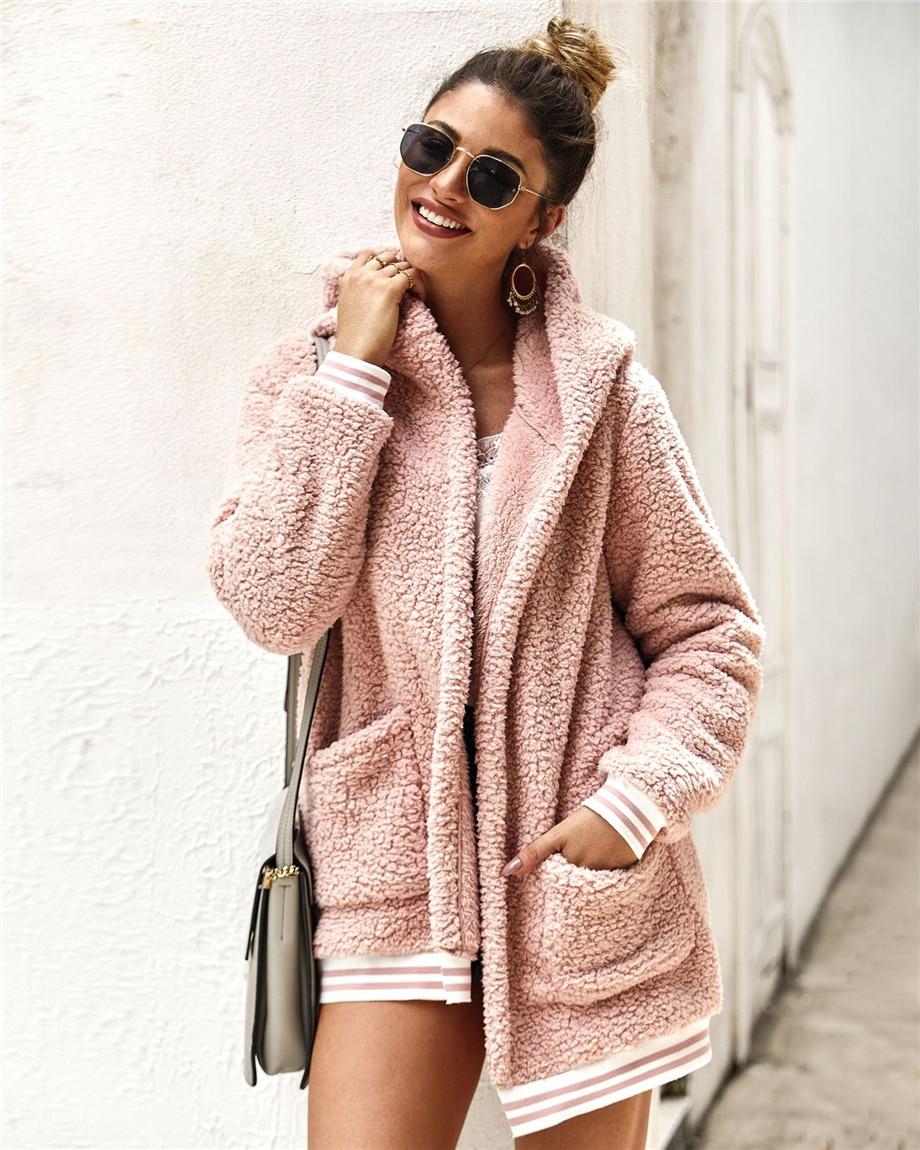 Womens Fleece Hooded Cardigan Open Front Sherpa Jacket Oversized Fuzzy Fleece Long Sleeve Coat Winter Outwear