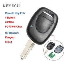 Keyecu chave remota para renault, chave automotiva remota com 1 botão 433mhz com chip pcf7946 para renault clio 2 2010-2019, para kangoo 2002-2004