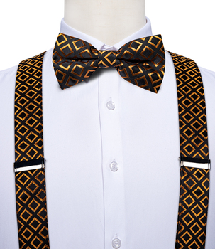 Luxury Gold Check 100% Men Suspenders Bow Tie Sets Mens Women Party Wedding Y-Back Leather 6 Clips Braces Shirt Braces DiBanGu thread jacket lo sets of steel braces braces tool braces wire tapping wrench tap 230