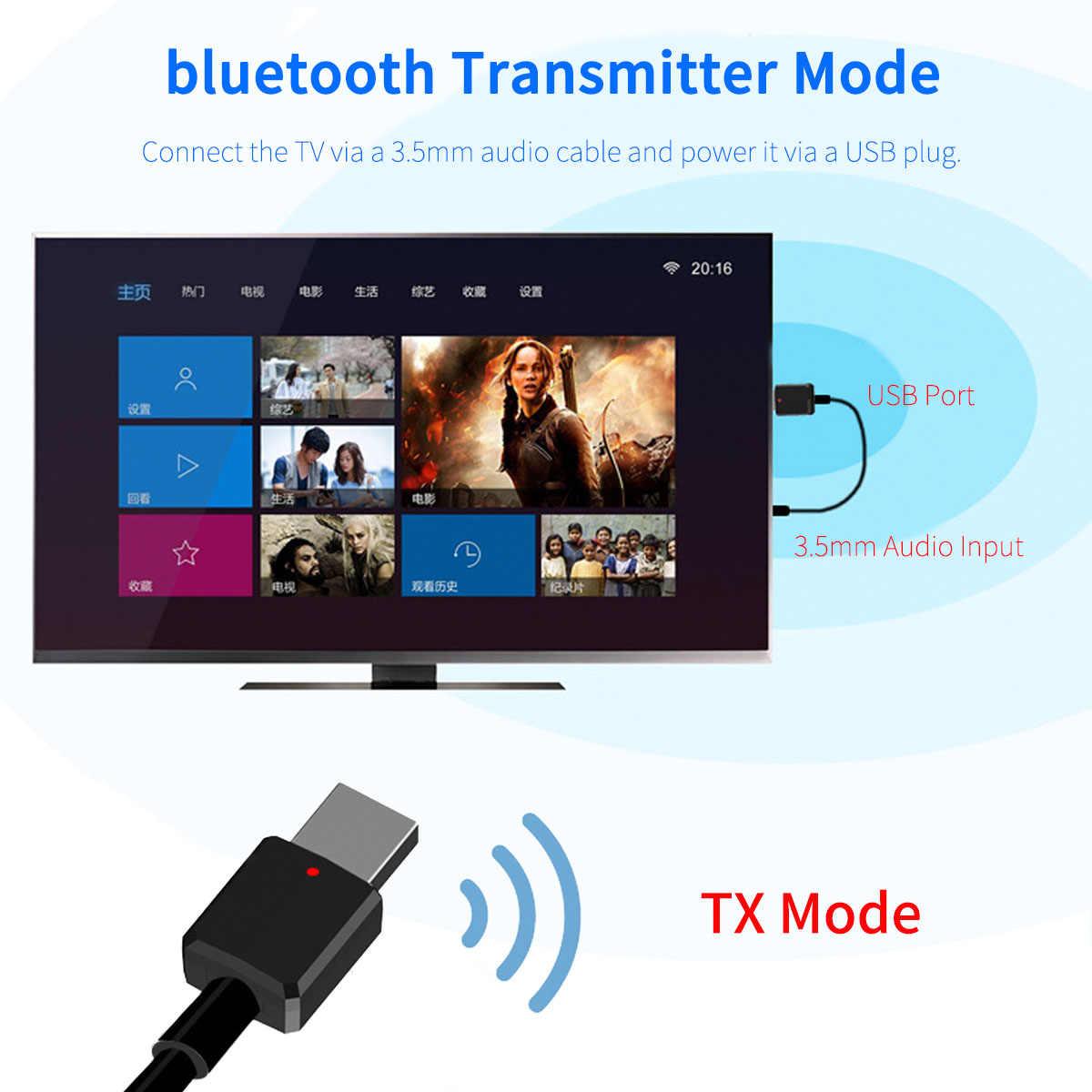 2in1 Bluetooth 5.0 Âm Thanh Thu Phát Không Dây Mini 3.5 Mm AUX Stereo Phát Bluetooth Cho Tivi PC Loa Xe Hơi