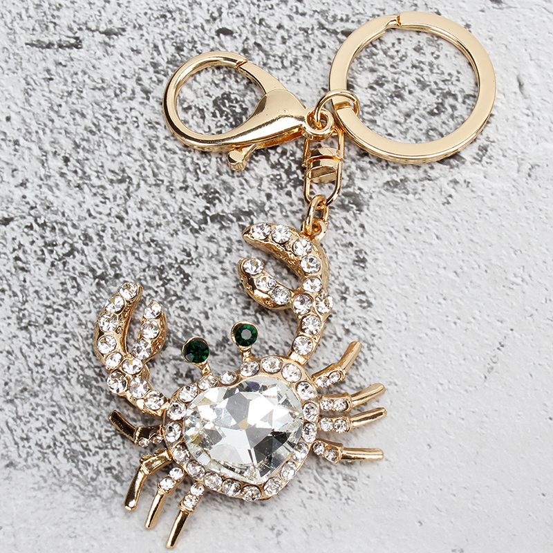 Fashion Creative Key Chain Crystal Rhinestone Crab Keychains Cute Animal Keyrings Women Bag Charms Car Accessories