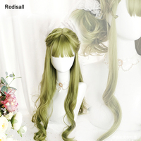 Special Green Harajuku Lolita Wig Curly Sweet Long Body Wave Cute Synthetic Hair Fringe Bangs Adult Girls