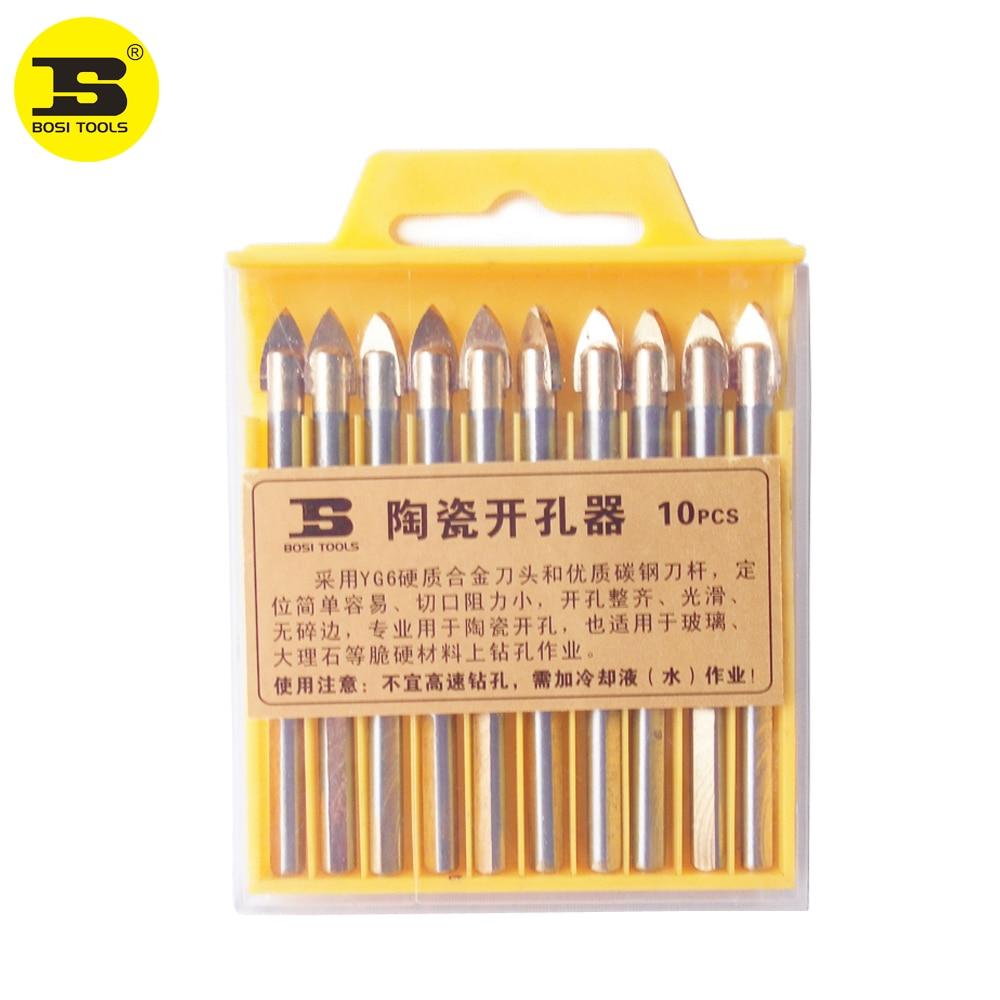 BOSI 10ピース6 mm磁器槍頭セラミックタイルガラス大理石ドリルビットセット