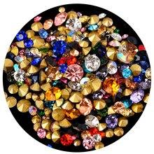 SS2-SS45 misture a pedra dos chatões do vidro do cone da cor apontou para trás cristal strass arte do prego jóia que faz o diamante fornecedor