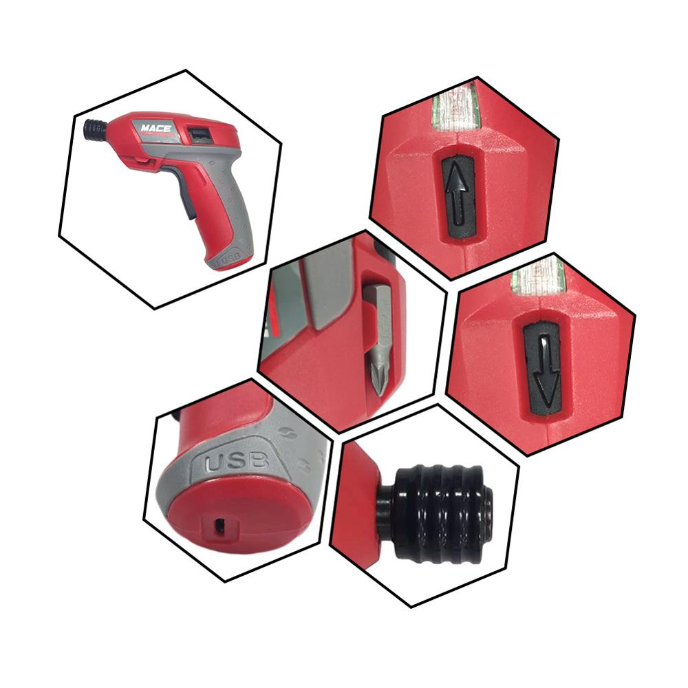 Rechargeable 4 2V USB Cordless Pistol Screwdriver with 38pcs Bit Set and Carrying Case Lithium Battery Drill Screw Gun