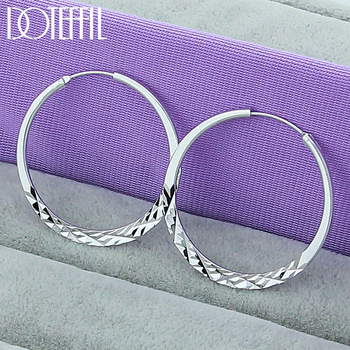 DOTEFFIL 925 Sterling Silver 40/45/50mm Round Circle Hoop Earrings For Women Wedding Engagement Party Jewelry 1